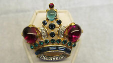 Large Mint Condition Signed Crown Trifari 1940'S Brooch Original Red Blue Green