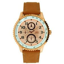 Softech Men's Rose Gold Bezel Tan Leather Strap Watch Analog Quartz Buckle Clasp