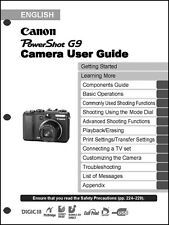 Canon Powershot G9  Digital Camera User Guide Instruction  Manual