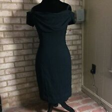 Vintage NICOLE MILLER - Off the Shoulder, Drape Front, LBD, Black Dress, size 10