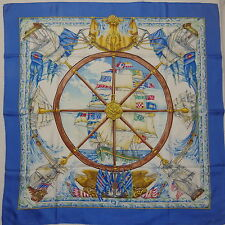 """Auth HERMES """"Vive le Vent"""" by Laurence Thioune Blue Silk Scarf 1328"""