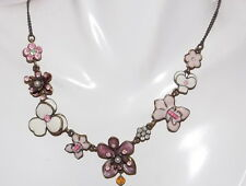 Antique Patina Pink White Enamel Rhinestone Flower Link Necklace NEXT 7d 14