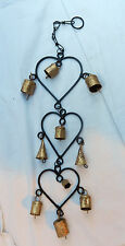 Hanging Iron and Brass Triple Heart and Bell Mobile / Windchimes - BNWT