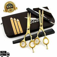 """Professional Barber Hairdressing Scissors Thinning & Hair Cutting Set Gold 5.5"""""""