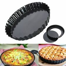 "6"" Flan Tin Tart Pie Pan Fluted Cake Baking Tray Non Stick Loose Base Mold Tool"