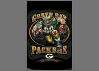 Rare Green Bay Packers GRINDING IT OUT SINCE 1921 NFL Theme Art Logo POSTER