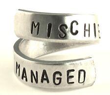 MISCHIEF MANAGED - Hand stamped - Harry Potter- Twist Ring