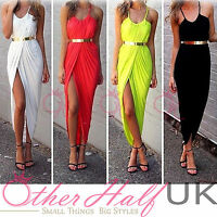 UK SEXY SLEEVELESS MAXI HALTER ASYMMETRIC HEM PARTY DRESS SUMMER BEACH SIZE 6-20