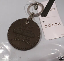 New With Tags COACH BROWN LEATHER BASEBALL PATCH KEY RING CHAIN FOB 93048