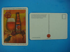 "Beer COASTER ~ NEW BELGIUM Brewery Pumpkick ""Autumn Tricks with Cranberry Kicks"""