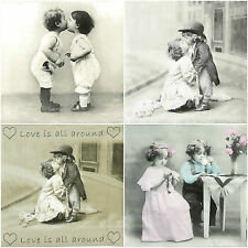 """4x Single Table Party Paper Napkins for Decoupage Vintage """"Forever Love"""" Mix"""