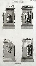Statue Autel d'Isis Religion Egypte Antiquité Montfaucon - Gravure XVIIIe