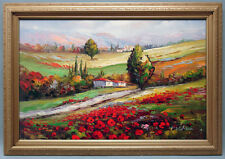 Framed Oil Painting of The Colorful French Country Side Covered in Flowers