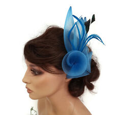 Gorgeous Blue Fascinator on a Hair Comb Slide in Mesh net with Black Feather
