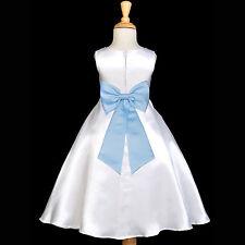 WHITE EASTER COMMUNION TEA-LENGTH TIEBOW SASH FLOWER GIRL DRESS WEDDING CHILDREN