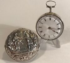 1760-84 John wilter London argento sbalzo COPPIA caso Verge Fusee Pocket Watch