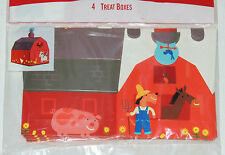 "BARNYARD BASH FARM   4-PAPER TREAT BOXES 5""x4""x4""  BIRTHDAY-CHILD PARTY SUPPLIES"