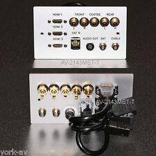 AV in Metallo Piastra Muro, 3x HDMI / 5x Phono Audio / CAT6 NETWORK / 2x F-Type Sockets