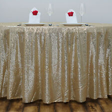 "120"" Champagne SEQUIN ROUND TABLECLOTH Wedding Party Catering Reception Linens"