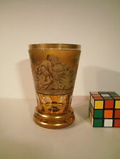 """MOSER W.Herrmann Hand painted """"Courting Couple"""" Amber glass faceted Beaker Vase"""