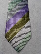 BCBG MENS TIE PURPLE SILVER GREEN STRIPES