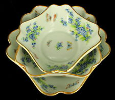VINTAGE SET OF 3  LIMOGES FRANCE  NESTING BOWLS BUTTERFLY FORGET ME NOT FLOWERS