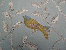 Sanderson Curtain Fabric 'Finches' Duck Egg 1.1 METRES 100% Cotton Glaze