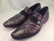 MARK NASON Rock Lives Black Silver Dragon Slip On Mens Dress Shoes Sz 11 Leather