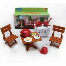 Table Chair Stove Dishes for Sylvanian Families Furryville Calico Critters Dolls
