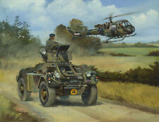 Daimler Ferret Westland Scout car helicopter BAOR military vehicle art print