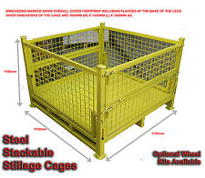 01 - STILLAGES WITH WHEELS - STEEL PALLET CAGES - STACKABLE - 1 CAGE FOR $650-