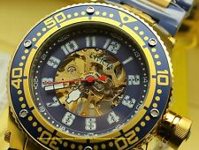 Invicta Corduba Mechanical Skeleton Dial 18KT Gold-Plated IP Blue Bracelet Watch