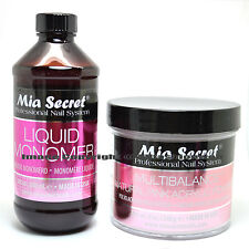 MIA SECRET 8oz LIQUID MONOMER + 8oz NATURAL PINK ACRYLIC POWDER SET NAIL ART SET