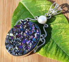 """925 STERLING SILVER LARGE DRUZY & PEARL PENDANT 2-1/4"""" MIXED THEMES"""