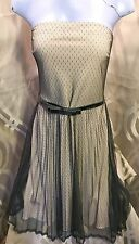 Black Polka Dot Lace Over Nude Strapless Dress by French Curve Sz Small US 6