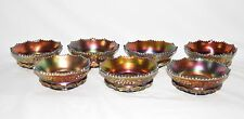 Antique NORTHWOOD Grape & Cable Carnival Glass Iridescent Berry Bowl Set of 7