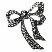 Vintage Deco Sterling Silver Marcasite Bow Ribbon Brooch/Pin - Rare