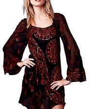138037 NWT $350 Free People My Beloved Sequin Embellished Black Mini Dress XS 0