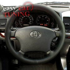 FOR TOYOTA HILUX 2005 + BLACK REAL GENUINE LEATHER STEERING WHEEL COVER NEW