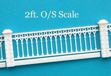 New O or S Scale Model Train White Plastic Fence - 2 Ft total length - Style E