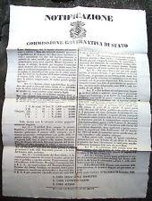 1849 MANIFESTO DEL TRIUMVIRATO ROSSO SU MONETE E BUONI DEL TESORO RIVOLUZIONARI