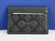 NWT COACH Men's Signature Embossed MOL Slim Credit Card Wallet 74177 Black