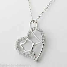 Cat Necklace - 925 Sterling Silver - Cat Pendant Charm Tail Love Heart NEW Kitty