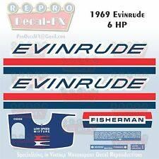 1969 Evinrude 6HP Fisherman Outboard Reproduction 9Pc Marine Vinyl Decal 6902-03