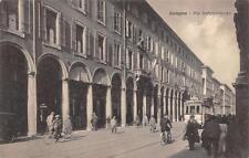 3463) BOLOGNA VIA INDIPENDENZA, ANIMATA, TRAM, BICICLETTE. VIAGGIATA NEL 1930.