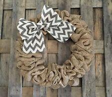 """20"""" Natural Gray Chevron Rustic Burlap Wreath Front Door"""