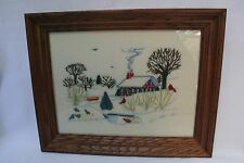 "Vintage Crewel Embroidery Finished Framed Winter Farm Scene 19 1/2"" x 15 1/2"""