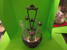 Vintage QUADRUPLE PLATE Condiment CASTOR Etched Glass DECANTER Cruet SET Silver