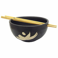 Handmade Japanese Design Ceramic Rice Soup Bowl with Chopsticks/ Black Motif