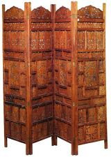 Crafted 4 Panel Wood Room Divider Screen Carved Regal Home Decor 17278